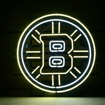 """Nhl Boston Bruins Hockey Beer Bar Real Glass Tube Neon Light Sign 19""""x15"""" inches Handcrafted"""