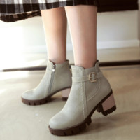 Ankle Boots for Women Thick Heels Belt Buckle Pu Leather Autumn Winter Round Toe Shoes Woman 3378