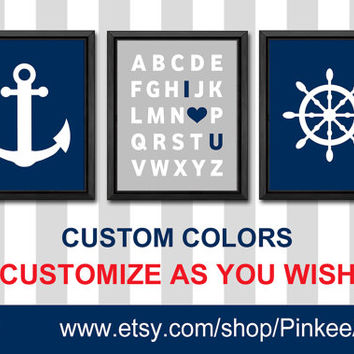 navy and gray modern kids wall art abc wall decor for navy grey nursery nautical kids playroom decor nautical baby gifts I love you alphabet