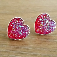 Druzy earrings- Red heart drusy silver tone stud druzy earrings
