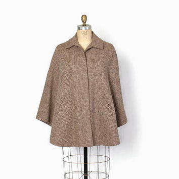 Vintage 80s Harris Tweed CAPE / 1980s Eddie Bauer x Filson Beige Wool Cape Coat Jacket