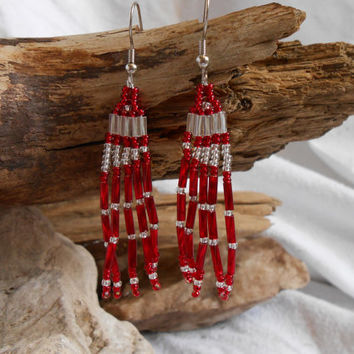 Hand Beaded Brickstitch Fringe Earrings, Native American Inspired, Red, Clear and Silver Glass Seed Beads, Handmade