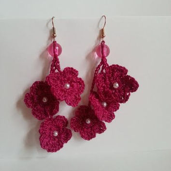 SALE, Gorgeous Dangle Earrings, Handmade Earrings, Crochet Earrings With Beads