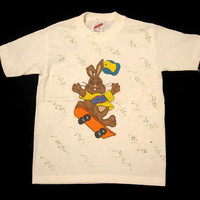 Tee Shirt Bunny on Skateboard, White, Short Sleeves, Hand Painted Jerzees, 6-8 Small