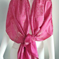 "Handwoven  Thai Silk Scarf  Vintage Design  20x70""  Pink Beach Winter Fashion Scarf Soft and smooth"