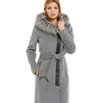 KARL LAGERFELD Faux-Fur Trimmed Coat | Dillards