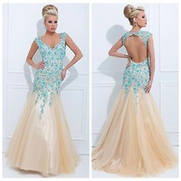 New Mermaid Applique Formal Party Ball Evening Pageant Prom Dresses Wedding Gown