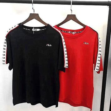 Fila vintage print shorts sleeve black red top tee H-A-GHSY-1