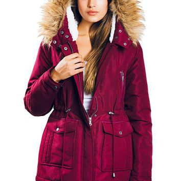 Womens Burgundy Puffer Coat