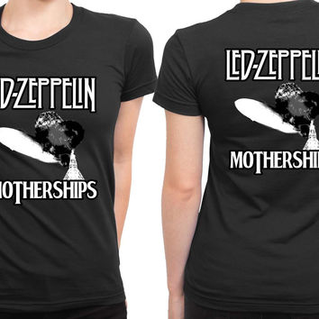 Led Zeppelin Mothership Black And White Big Size 2 Sided Womens T Shirt
