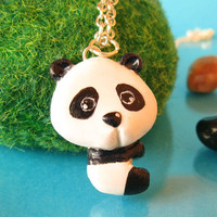 Panda Necklace black and white clay pendantfree by FlowerLandShop