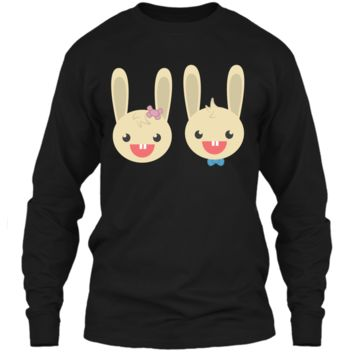 Cute Rabbit Bunny Couple Valentines Day Easter Shirt LS Ultra Cotton Tshirt