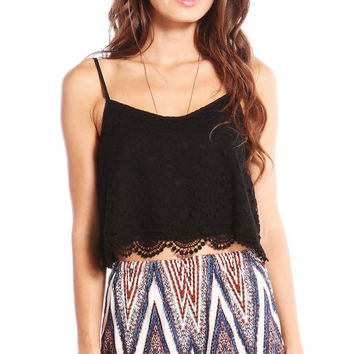 EXPOSED BACK FLORAL LACE CROP TOP - BLACK