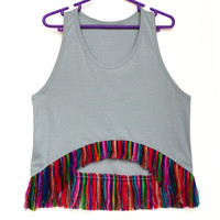 Tribal Top, Women Tank,  Rainbow Top with Fringe in Peruvian fabric, Peruvian textile, Women's Tshirts, Women's Tops, Trendy Tops, Tank Top