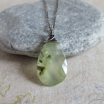 Prehnite Necklace, Sterling Silver Wire Wrapped Pendant, Green Prehnite Teardrop, Rustic Necklace, Stone Jewelry