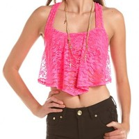 RUFFLED LACE RACERBACK CROP TOP