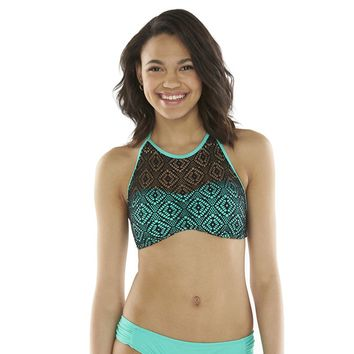 Amica Crochet High-Neck Halter Bikini Top - Juniors, Size: