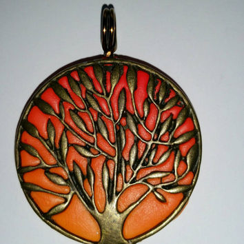 Sunset orange tree pendant, Brass tree of life pendant, clay pendant