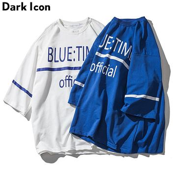 Blue Time Three Quarter Sleeve Over sized T-shirt Men Summer Loose Style Men's T shirts Tee Shirts Men Blue White