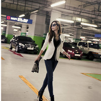 Fashion New Women Suit Blazer Color Block Slim Coat Pocket Jacket Outerwear White