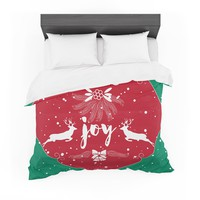 "Famenxt ""Christmas Joy"" Red Green Digital Featherweight Duvet Cover"