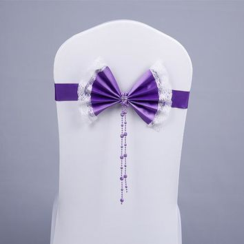 Hot-selling diamond buckle elastic chair cover bow belt wedding decoration of the chair back flower wedding chair band 100pcs