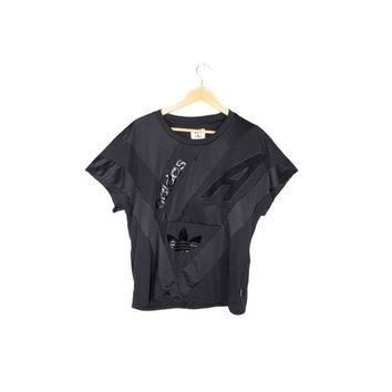 ADIDAS originals archive jersey shirt - black trefoil + leather panel tee - womens med