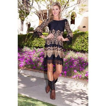 Hill Country Lace Sleeve Dress in Tan and Black