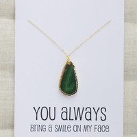 You Always Bring Smile To My Face Woman Pendant Stone Necklace
