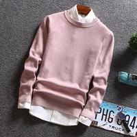 Winter Men Jumper Pure Cashmere Knitted Sweater Round Neck Long Sleeve Warm Pullovers Male 2017 New Sweaters MY7116