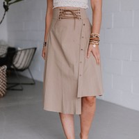 Kai Midi Button Down Lace Up Unbalanced Skirt - Taupe