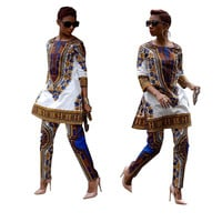 African Vintage Dashiki White Formal Two-Piece