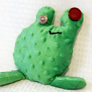 Stuffed Animal, Stuffed Frog, Frog Toy, Weird Stuffed Animal, FREE U.S. SHIPPING Stuffed Softie, Soft Toy, Frog Plush, Minky Plushie, Albert