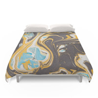 Society6 Yellow Marble Duvet Cover