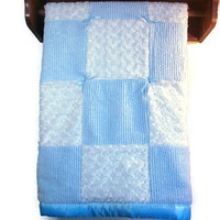 Baby Boy Quilt-Baby Chenille and Minky Swirl Quilt-  Baby Minky Swirl Blanket - Blue Baby  Quilt