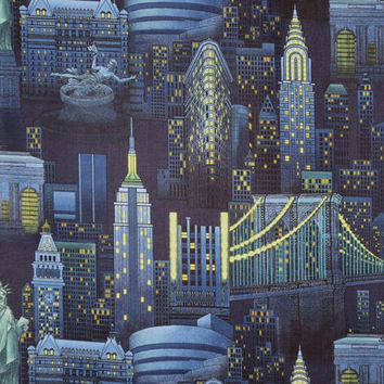 Night Time in New York Print Pure Cotton Fabric from TImeless Treasures--One Yard