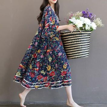 Vintage Style Flare Sleeve Floral Cotton Blend Country Dress