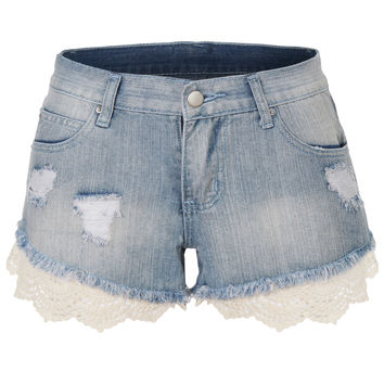 LE3NO Womens Distressed Denim Jean Shorts with Crochet Hem