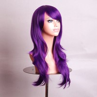 "Outop 28 ""Women's Hair Wig New Fashion Long Big Wavy Hair Heat Resistant Wig for Cosplay Party Costume(purple)"