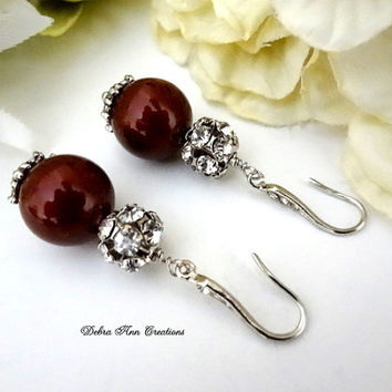 Swarovski Red Bordeaux Marsala Pearl Antique Silver Crystal Earrings Red Wedding Bridal Bridesmaid Jewelry Vintage Style Red Pearl Earrings
