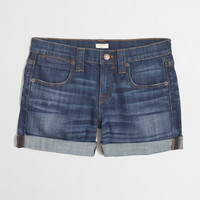 Factory denim roll-up short : 4"