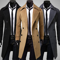 Stylish Double Breasted Overcoat Men Long Trench Winter Coat
