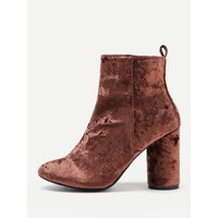 Brown Point Toe Ankle Block Heel Boots