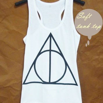 Racerback tank top Harry Potter top graphic tank workout tops triangle print size S M L XL sleeveless tanks/ soft shirt/ women clothes
