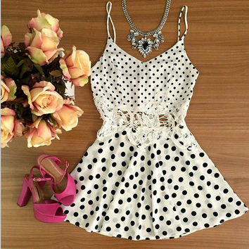 White Polka Dot Strappy Waist Lace Mini Dress