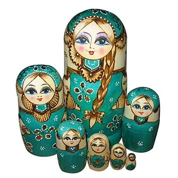 7 Layers set Wooden Dolls Kids Novelty Nesting Matryoshka Doll Set Hand Painted Wood Baby Doll Toy Lovely Girls Doll Set
