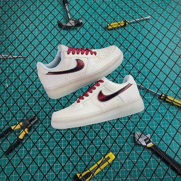 New Nike Air Force 1 AF1 Low Milk White / Red With Crystal Glint - Best Online Sale