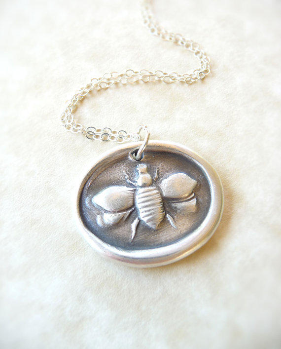Bee wax seal necklace pendant jewelry, made from fine silver