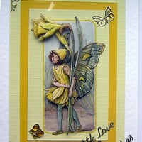 Fairy Hand-Crafted 3D Decoupage Card - With Love & Best Wishes (1330)