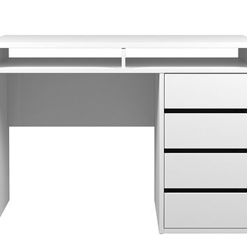 Tvilum 80157uuuu Wyatt 4 Drawer and 2 Shelf Desk, White High Gloss